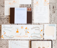 Whimsical Letterpress Illustrated Invitations