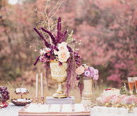 Romantic Peach and Plum Tablescape