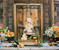 Vintage Peach and Green Dessert Table