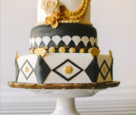 Black, Gold, and White Cake