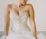 Ruffled Silver Beaded Maggie Sottero Gown