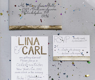 Confetti and Sparkly Gold Invitations