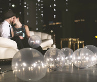 Clear Balloons and Hanging Lights