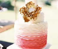 White-Pink Ombre Ruffle Cake