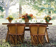 Wood Equipales Chairs and Table
