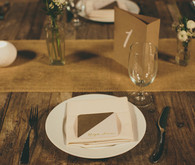 Vintage Wood Table Place Setting