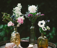 Tinted Vases with Mixed Blooms