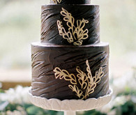 Chocolate and Gold Floral Cake