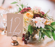 White Calligraphy Table Numbers