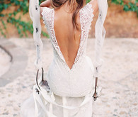 Low V-back Wedding Gown