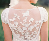 Sheer Floral Embroidered Wedding Gown