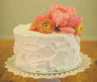 Buttercream Peony Cake on Scalloped Cake Stand