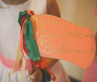 Peach and Gold 'Here Comes the Bride' Sign