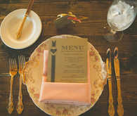 Kraft Menu with Peach Napkin
