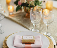 Gold and Pink Champagne Dinner Setting