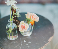 Rustic Amber and Clear Mini Vases