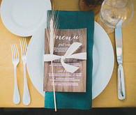 Wood Grain Menu with Teal Napkin