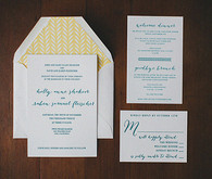 Teal and Yellow Classic Wedding Invitations