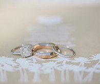 Rose Gold and Cushion Cut Diamond Bands