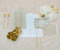Modern Gold, Kraft and White Invitation Suite