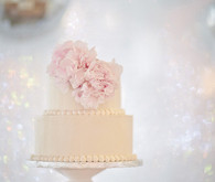 Two-Tier White Wedding Cake with Pink Peonies