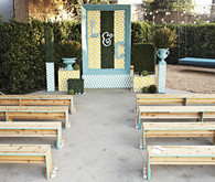 Aqua Edge-Painted Benches