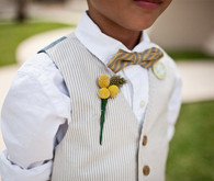 Yellow and Blue Stripe Bow Tie Ring Bearer
