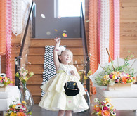 Modern Flower Girl and Round Colored Confetti