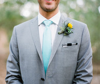 J. Lindeberg Gray Suit with Aqua Tie