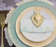 Latin Inspired Gold and Aqua Place Setting
