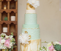 Latin Inspired Mint and Gold Tiered Cake