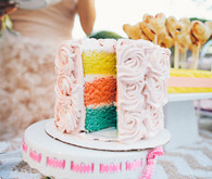 Triple Colorful Tiered Cake