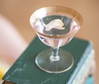 Rose Petal Martini in Gold-rimmed Champagne Coupes