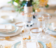 Vintage Spring Gold and Blue Place Setting