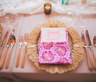 Gold and Pink Mexico Wedding Place Setting