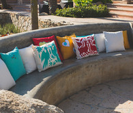 Stone Bench with Colorful Pillows