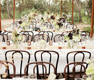 Brentwood Chairs under White Umbrellas Reception