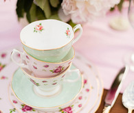 stacked floral teacups