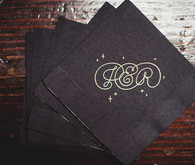 Black and Gold Custom Monogram Cocktail Napkins