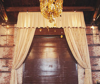 Vintage Reception Seating and Gold Chandelier