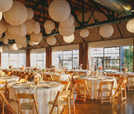 paper globe lanterns and white linens