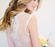 Claire Pettibone Sheer Lace Back Gown