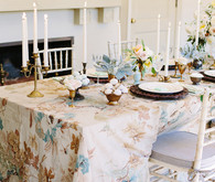 Southern Floral Linen and Taper Candle Decor