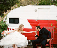 Red and White Trailer Wedding Portrait