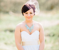 Custom Made Strapless Gown with Cream Ribbon