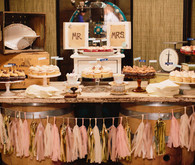 Pink and Gold Confetti System Vintage Dessert Bar