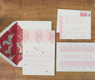 Geometric Pink Invitations with Zebra Envelope Liners