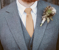 Heather Gray Suit and Champagne Tie