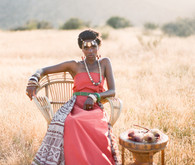 African Inspired Print and Coral Dress