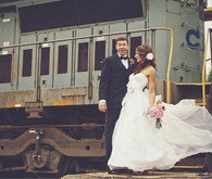 Flowing Sweetheart Gown at Train Station